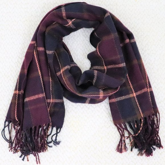 Accessories - Plaid Marron Scarf with Fringe